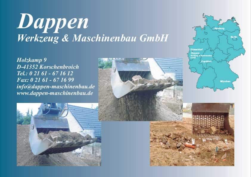 Dappen Werkzeug- und Maschinenbau | Dappen GmbH Bildermappe 2008 | Collage mit Sieblöffeln Deutschlandkarte mit markierten Dappen Standorten und Kontaktdaten